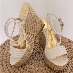 Coach gold and white leather espadrille wedge